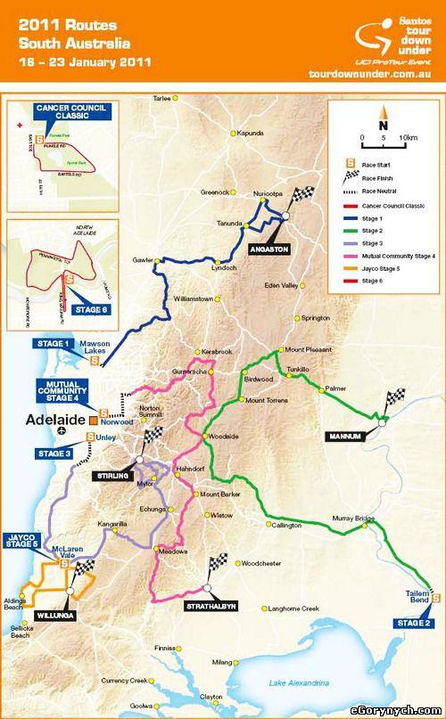 карта Tour Down Under 2011